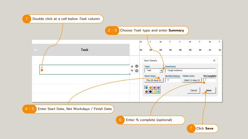 Screenshot : How to add a task