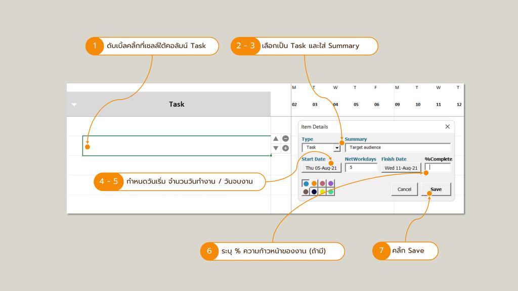 ภาพวิธีการเพิ่มหรือแก้ไข Task