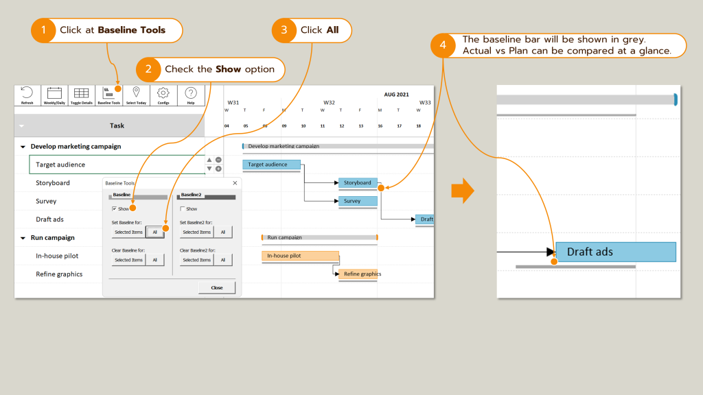Screenshot : How to create a project baseline (for Actual vs Plan comparison)