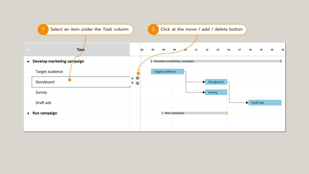 Screenshot : How to move / delete / add task row